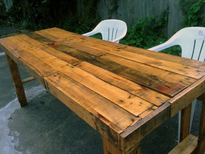 The now finished pallet table