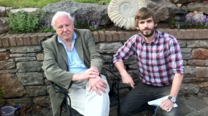 Sam Pearson working with Sir David Attenborough on Natural Curiosities.