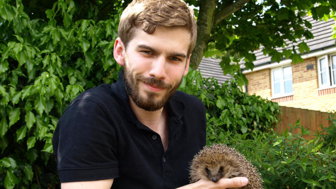 Sam Pearson with hedgehog