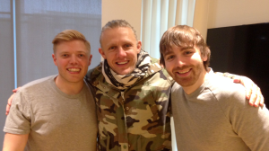 Rob Beckett, Jimmy Bullard and Ian Smith on Magic Sponge duty.