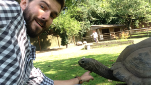 Sam Pearson with a Giant Tortoise