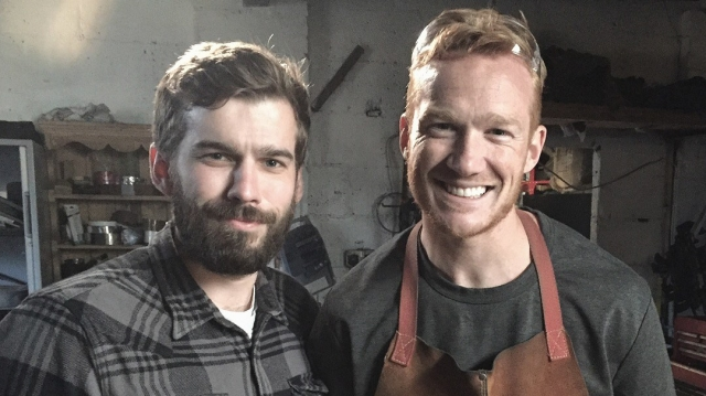Sam Pearson with Greg Rutherford for Forged in Britain.